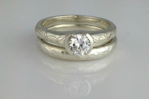 Hand Engraved Engagement Ring