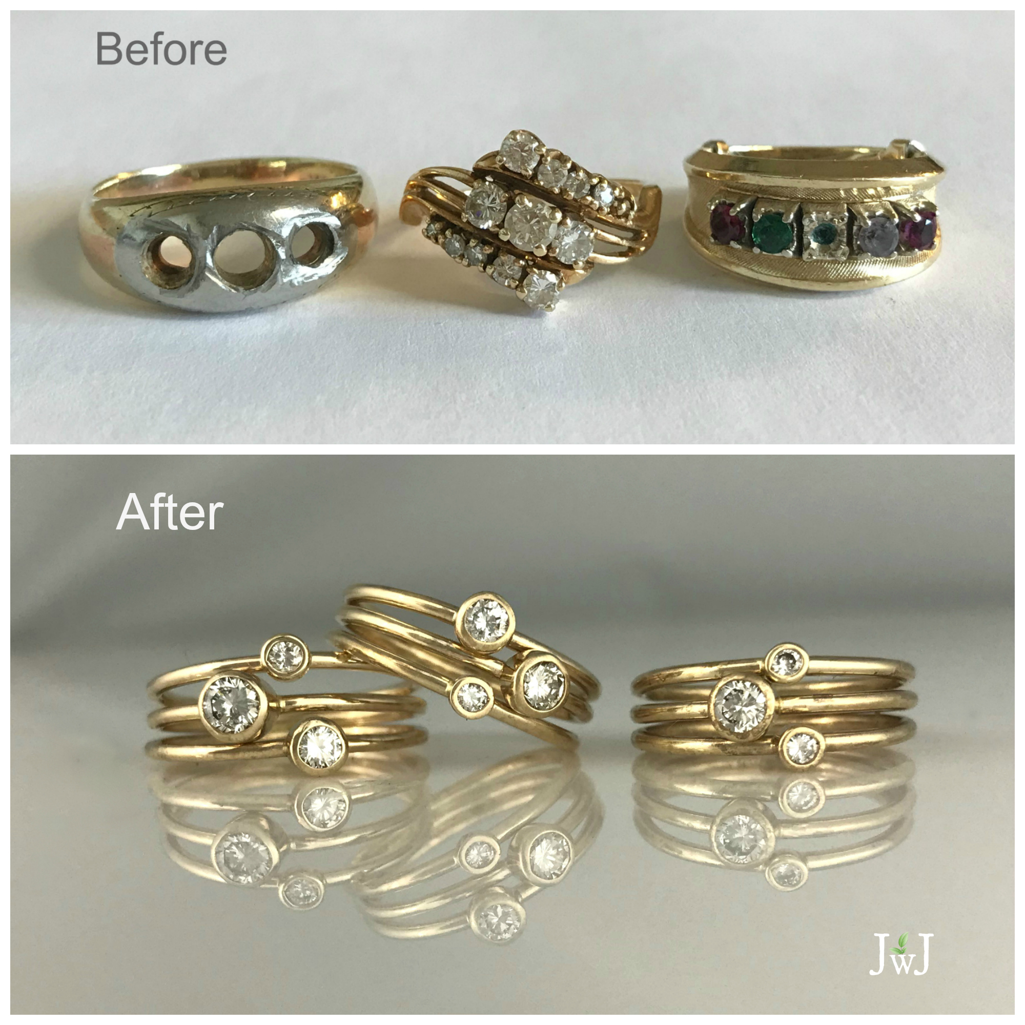 Before and After Repurposed Jewellery