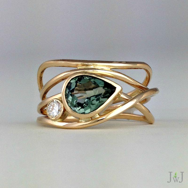 Green Tourmaline Horizon Ring