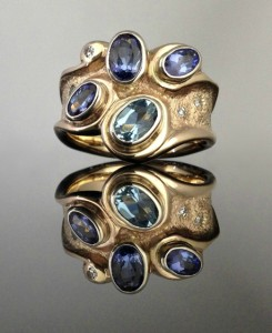 """""""Blue Waves"""" Ring"""