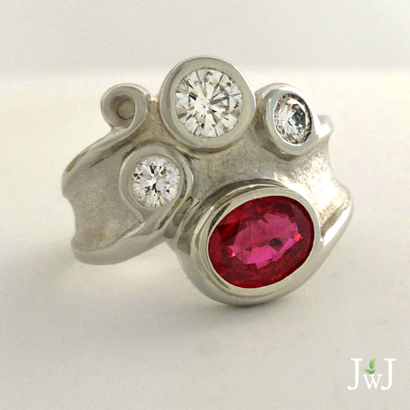 Ruby and Diamond Sandcast Ring