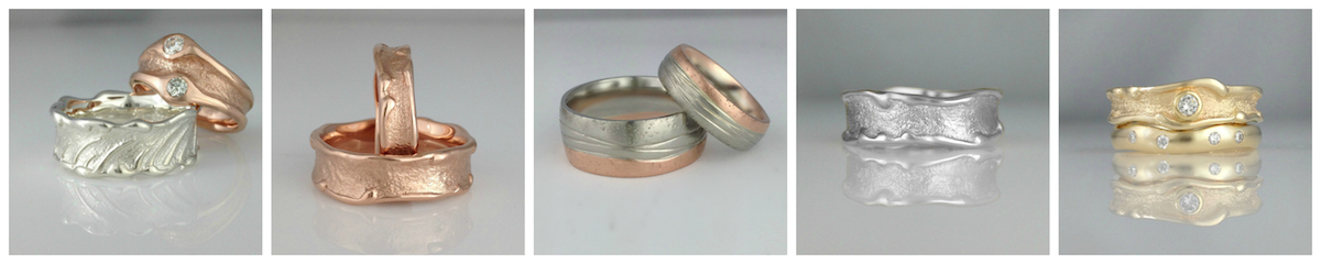 Beach sand wedding bands