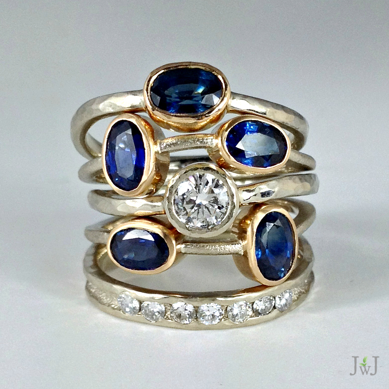 Sapphire Diamond Stacking Rings