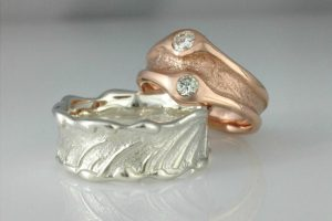 Seagrass and Sand Wedding Rings