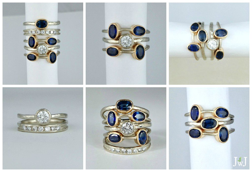 Showcasing the versatility of the stacking ring set.