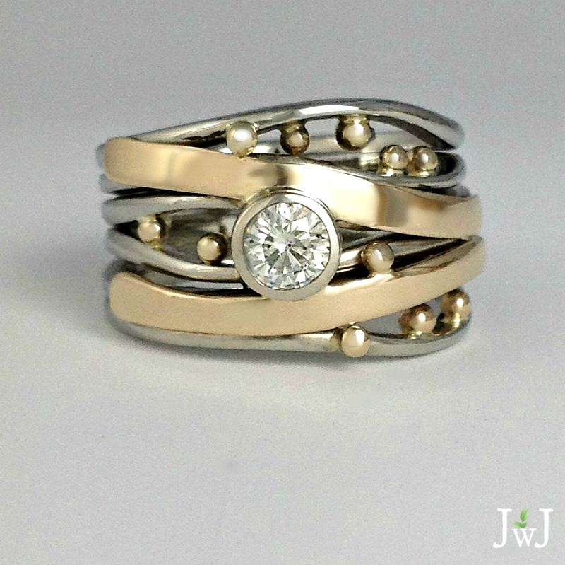 Bubbles & Wake Ring with Diamond.