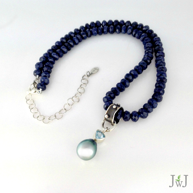 Blue Sapphire Tahitian Pearl Necklace