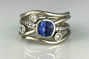 Sapphire Diamond Flow Ring
