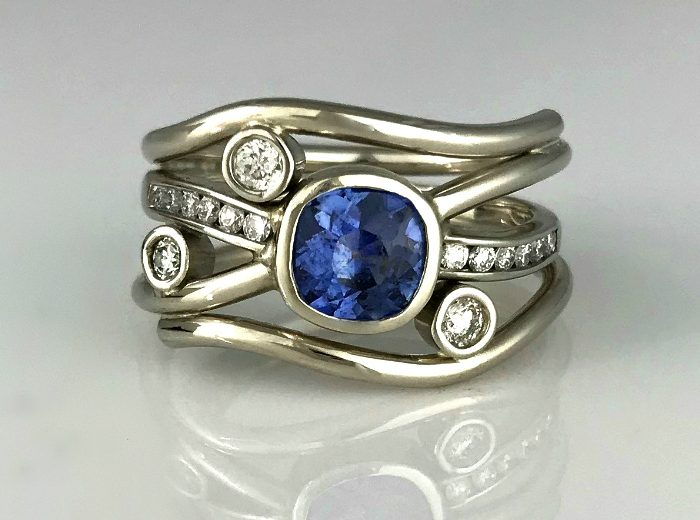 Sapphire Diamond Flow Ring Vintage Redesign