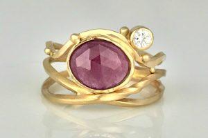 Pink Sapphire Twist Ring