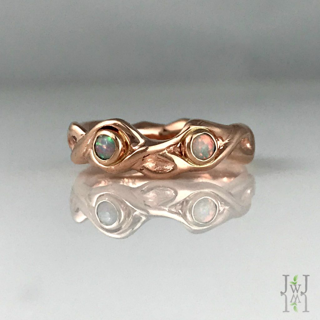 Rose Gold Opal Roots Wedding Band