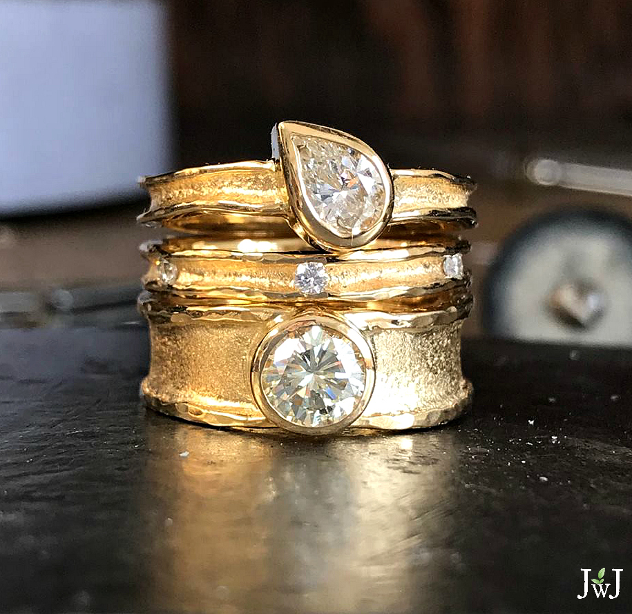 Ancient modern wedding bands and engagement rings.