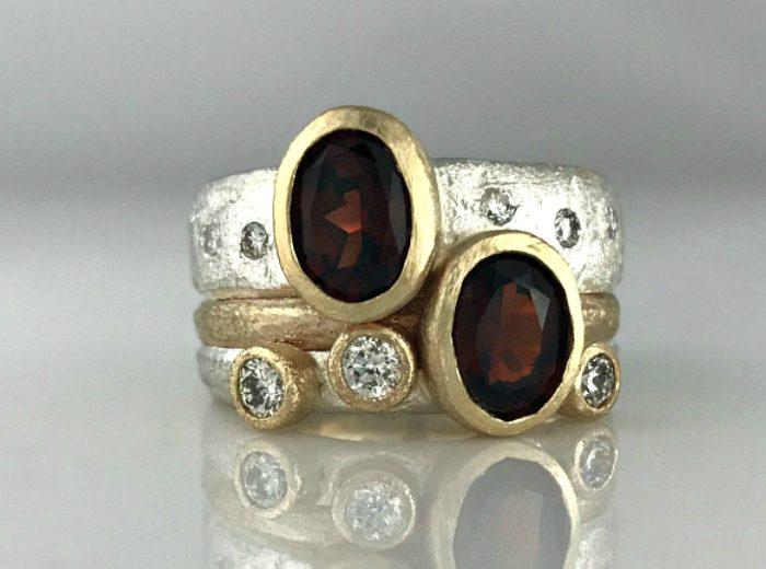 Garnet & Diamond Sand Bands – Heirloom Jewellery Redesign