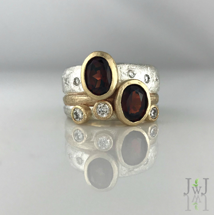 Garnet & Diamond Sand Bands
