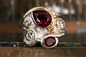 Sandcast Ruby Swirl Ring