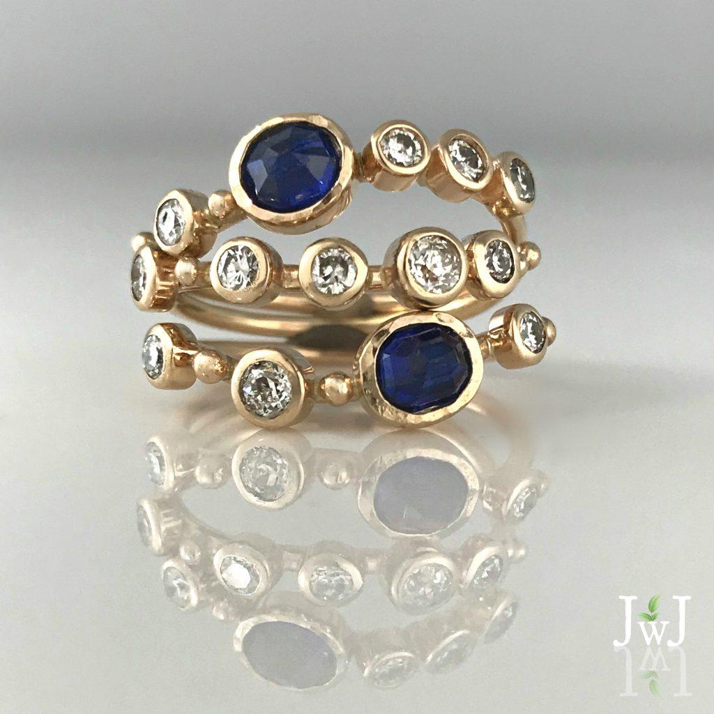 Diamond Sapphire Stacking Rings