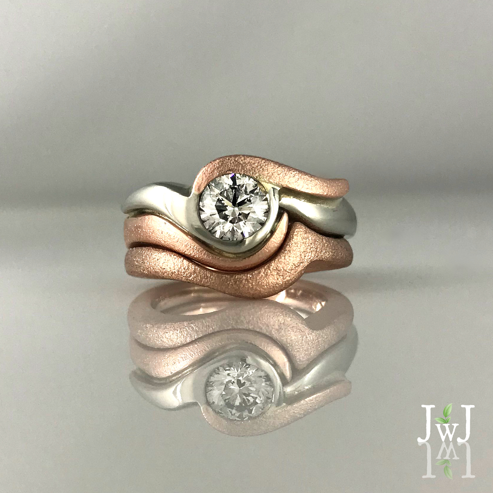 White Rose Gold Diamond Engagement Ring