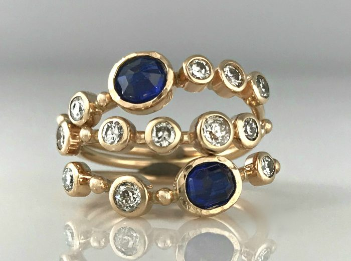 Diamond Sapphire Stacking Rings