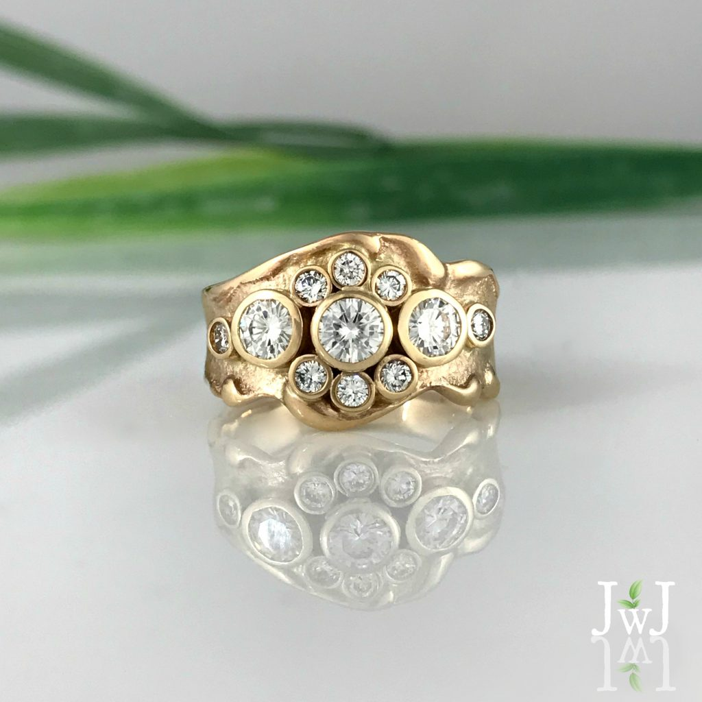 Multi Diamond Wave Ring