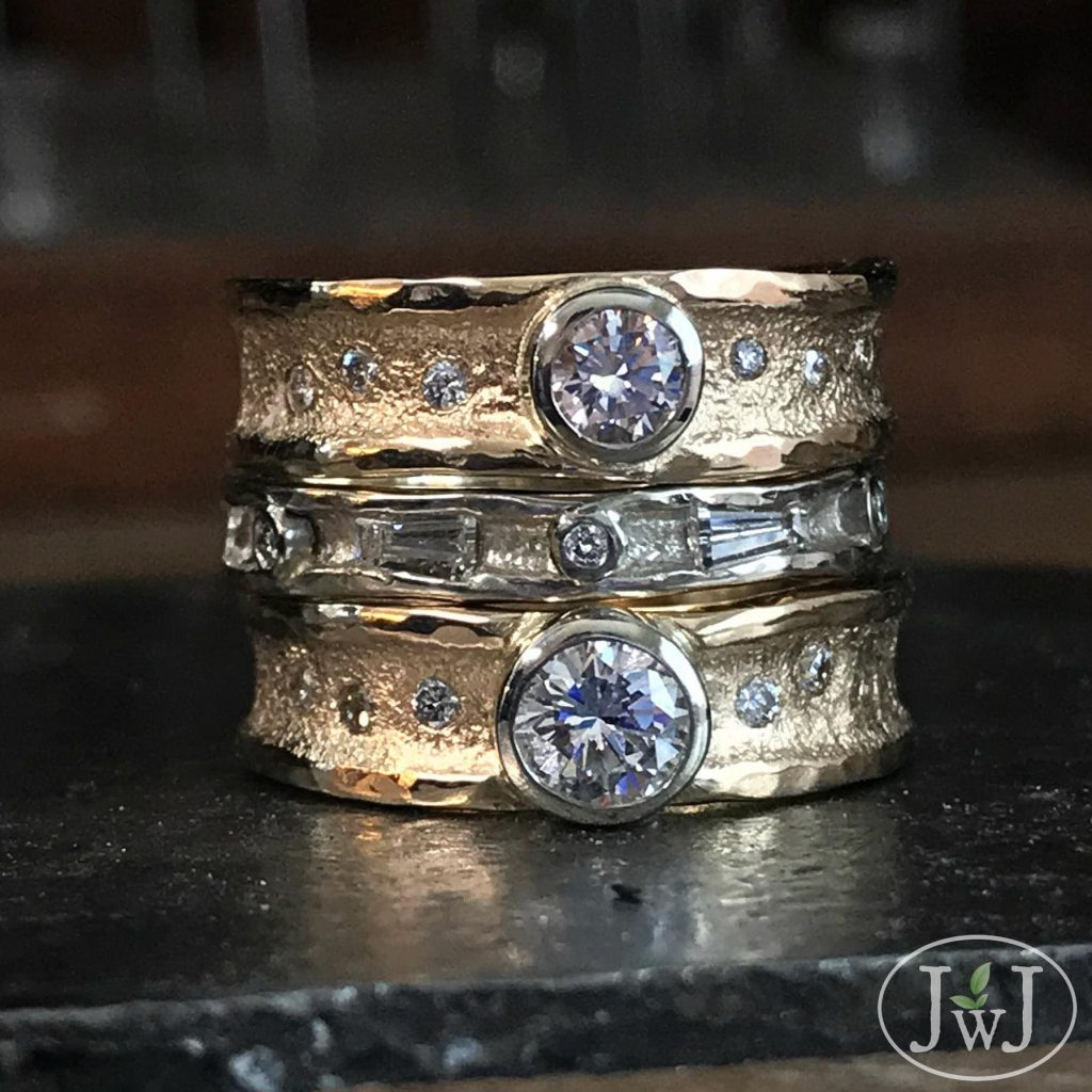 Love Shine Diamond Stacks of recycled Diamonds sand-cast in recycled Gold.