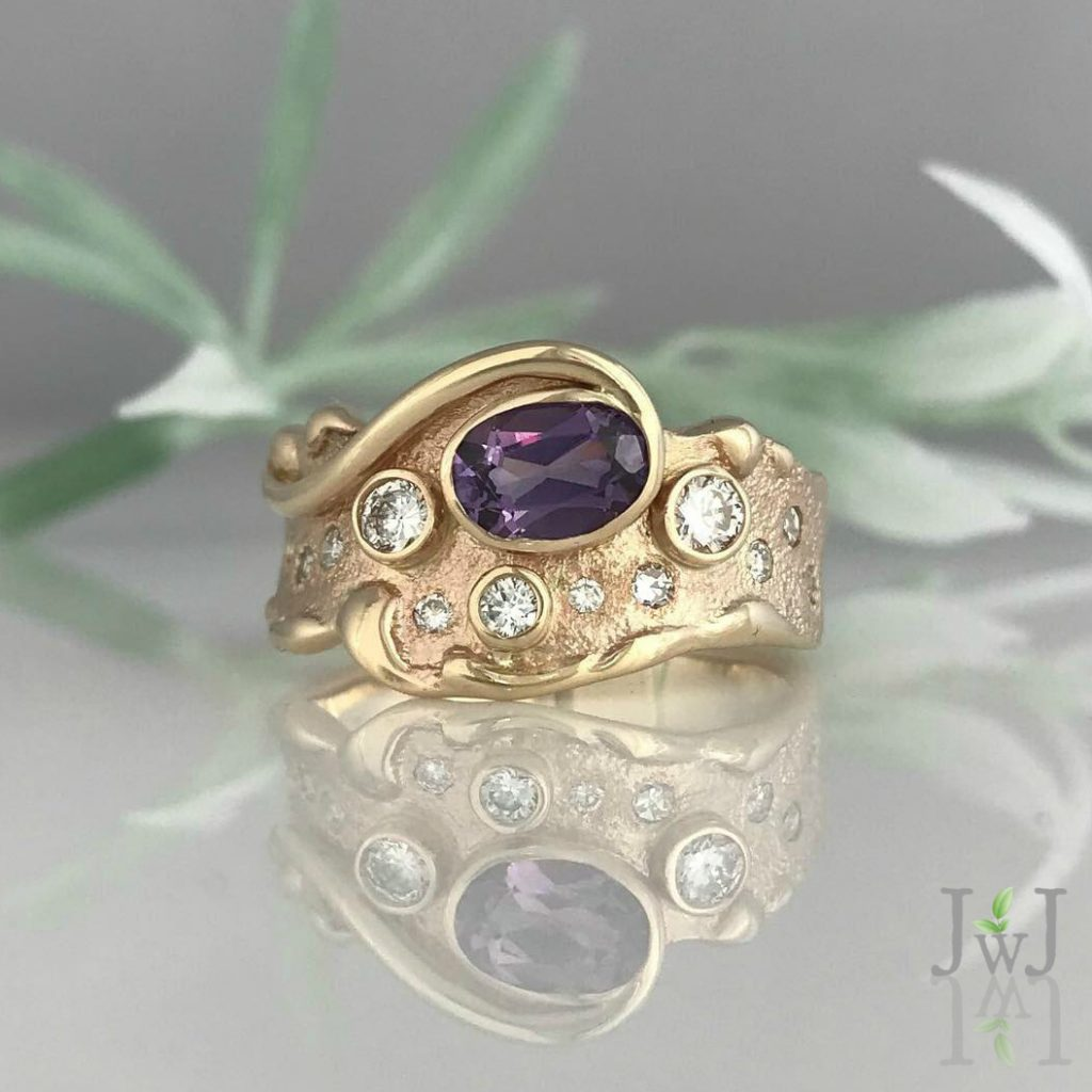 Recycled Diamonds and Recycled Gold make the Amethyst Wave Ring