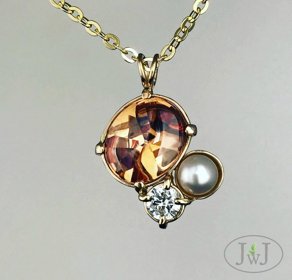 Mexican Fire Opal Pendant with recycled Gold, Diamond and a cultured pearl.