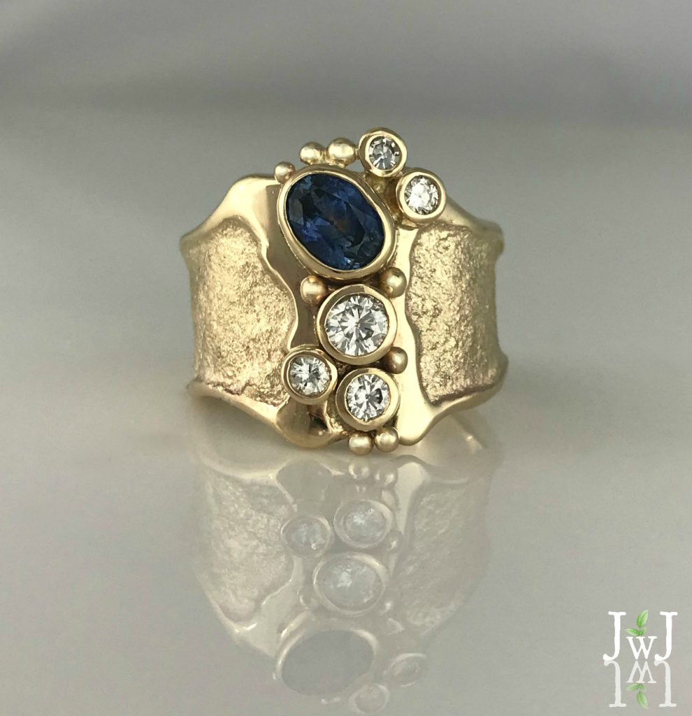 Recycled Diamond and Montana Sapphire sand-cast Empowering