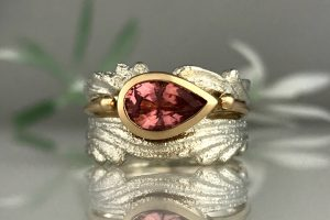Pink Tourmaline Ripple Ring