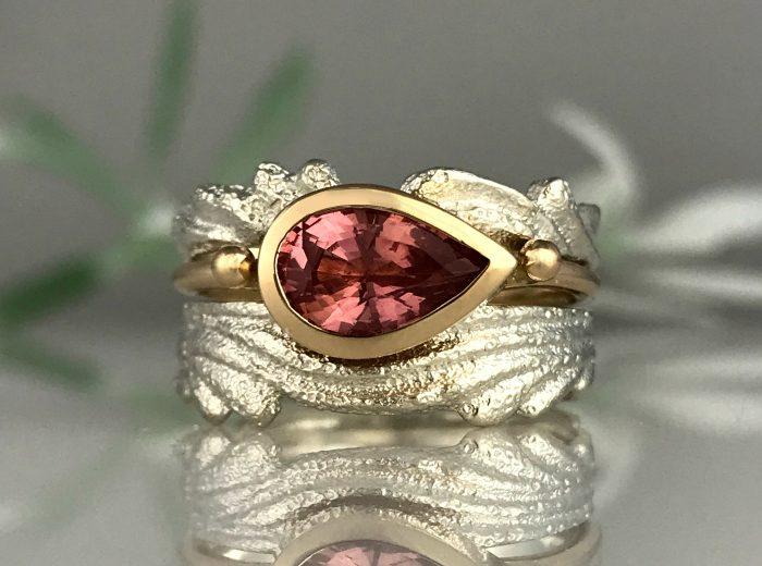 Pink Tourmaline Ripple Ring
