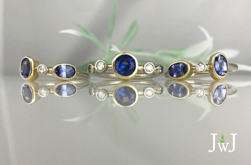 sapphire diamond stacking rings