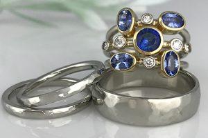 Sapphire Diamond Stacking Wedding Rings