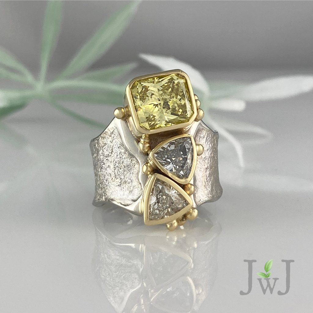 The Yellow Diamond Empowering was created using the ancient technique of sand casting with Recycled Gold and Recycled Diamonds.