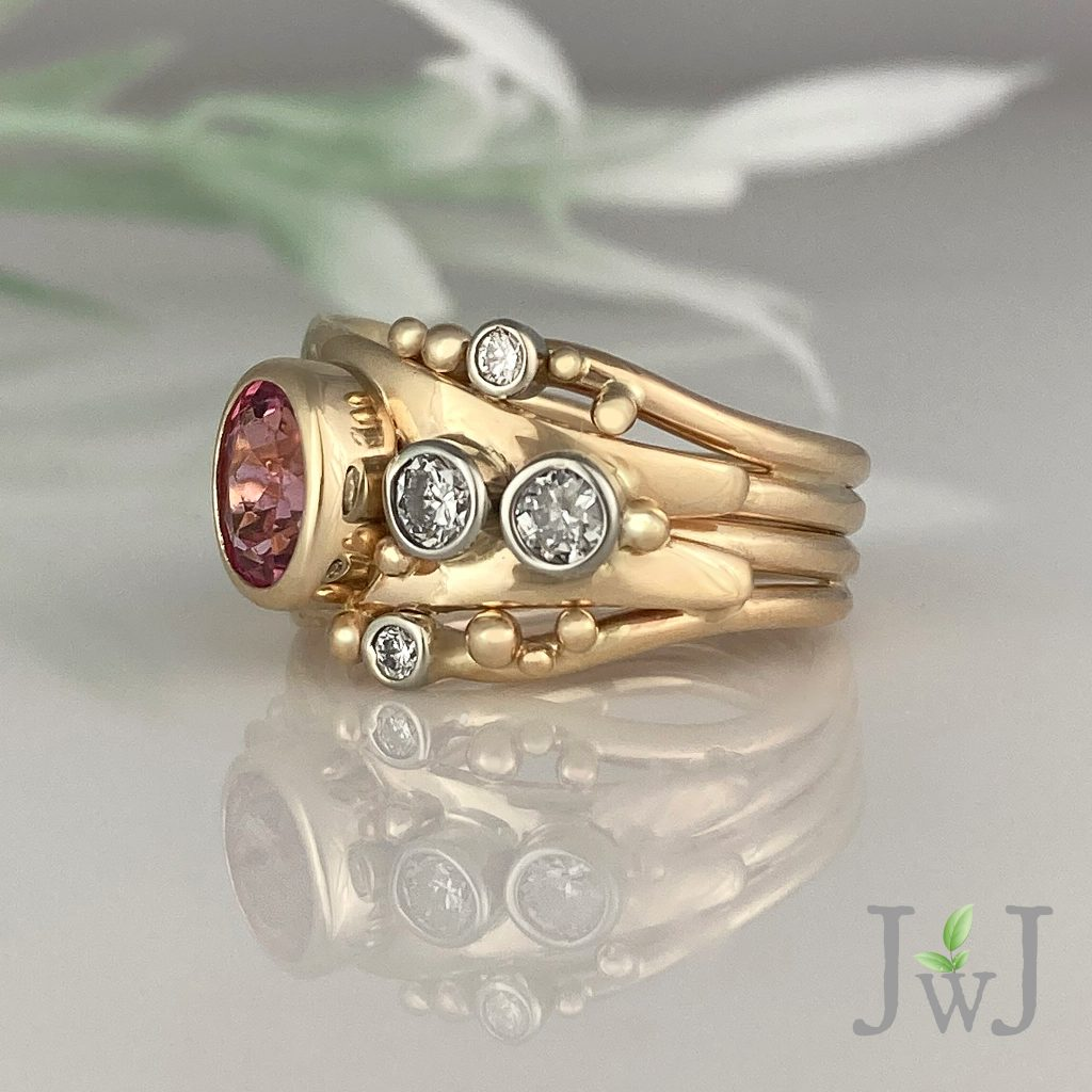 Tricia Pink Tourmaline Bubbles Ring