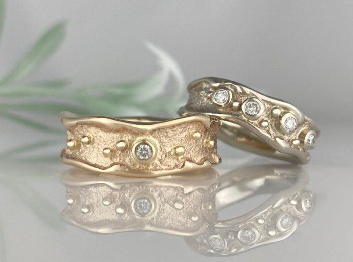 Ancient Sands Seashore Wedding Rings